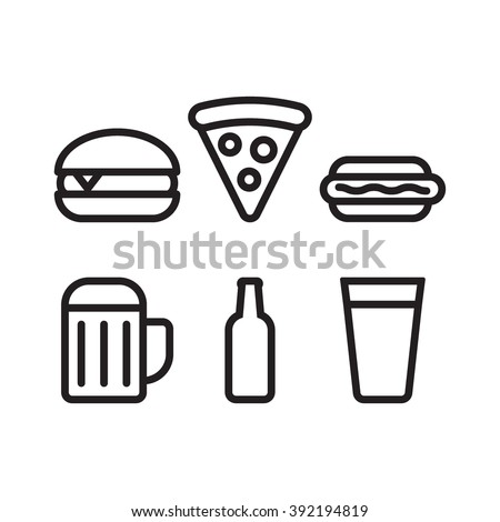 Food and beer set, burger, pizza, hot dog, beer cup, beer bottle outline icon flat vector on white background. Theme for cafe and restaurant. - stock vector