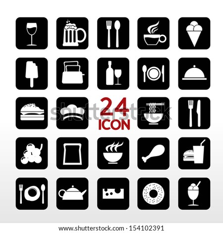Food And Beverage Icon Set EPS10 - stock vector