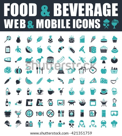 food and Beverage icons - stock vector