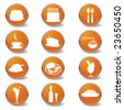 Food and beverages web icons - stock vector