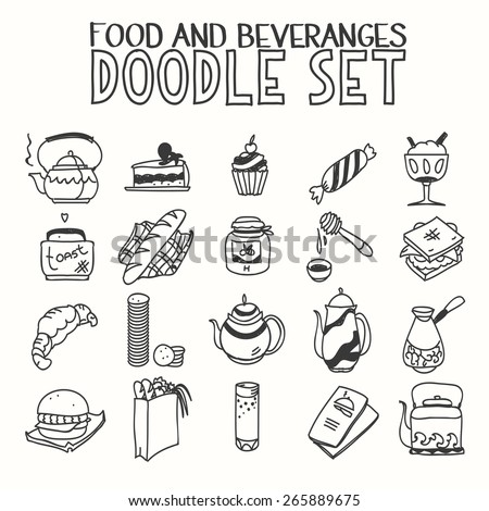 Food and beveranges morning breakfast lunch or dinner kitchen doodle hand drawn sketch rough simple icons coffee, tea, teapot, cupcake, jam and other sweets