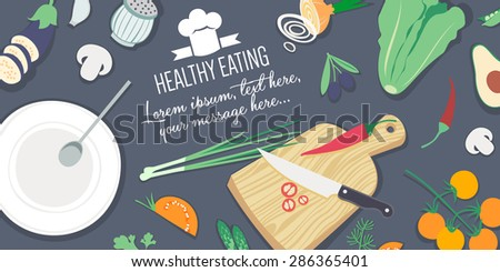 Food and cooking banner - Healthy eating - stock vector