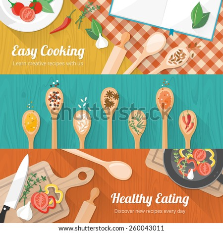 Food and cooking banner set with kitchenware utensils, spices and vegetables on wooden table worktop - stock vector