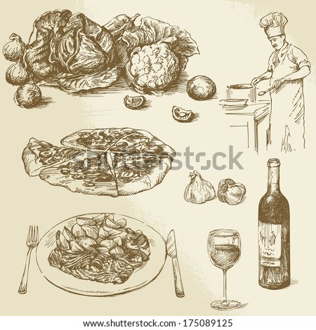 food and cooking collection  - stock vector