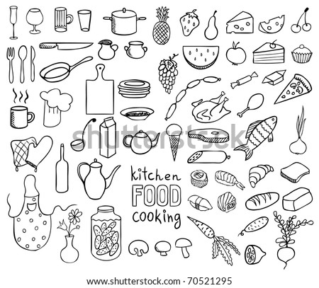 Food and cooking icons vector collection - stock vector