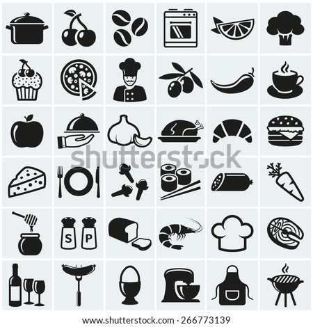 Food and cooking web icons. Set of black symbols for a culinary theme. Healthy and junk food, fruit and vegetables, spices, cooking utensils and more. Vector collection of silhouette design elements. - stock vector