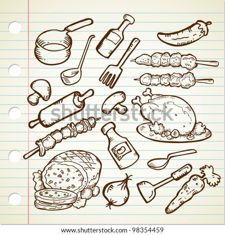 Food and Cookware - stock vector