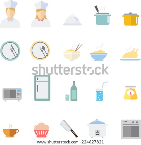 Food and cookware flat icons set - stock vector