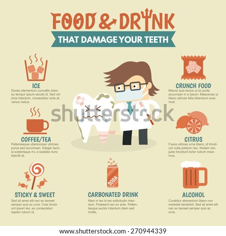 food and drink damage teeth dental problem health care infographic - stock vector