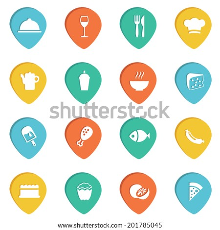 Food and drink drop 4 color button and icon set - stock vector