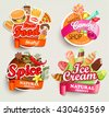 Food and drink elements, Typographical Design Label or Sticker - fast food, spice, candy shop, ice cream. Vector illustration.