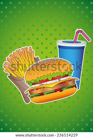 Food and Drink. Fast food: hamburger, french fries, drink. Design vector illustration. - stock vector