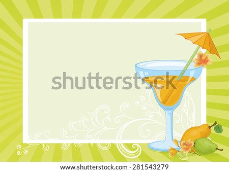 Food and Drink, Glass with Juice, Straw with Umbrella, Pears and Flowers Alstroemeria on the Background with Abstract Floral Pattern and Rays. Eps10, Contains Transparencies. Vector - stock vector