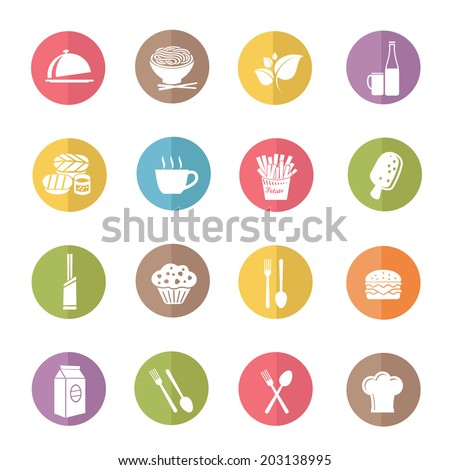 Food and drink icon set,color vector - stock vector