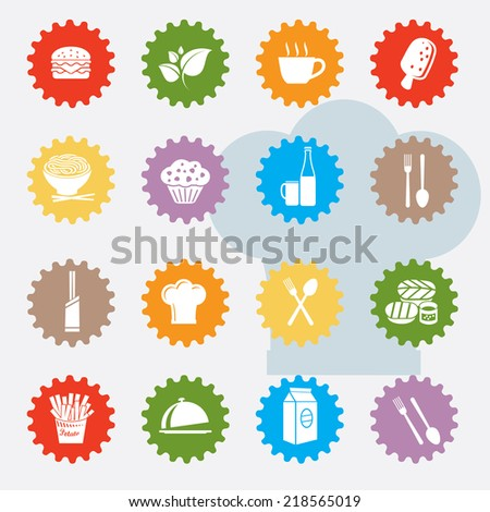 Food and drink icon set,colour version,clean vector - stock vector