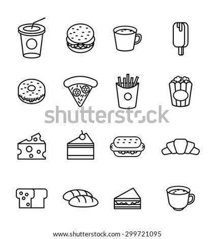 Food and drink icon set. flat line icons. vector