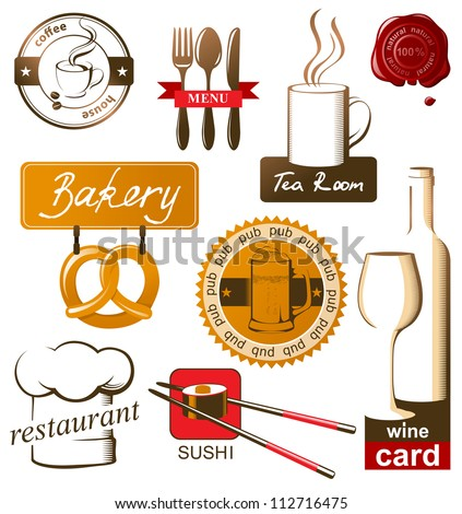 Food and drink icons and logos - stock vector
