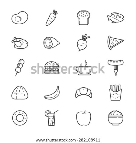 Food and Drink Icons Line - stock vector