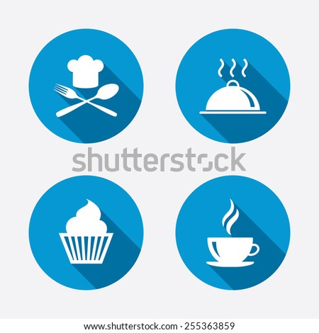Food and drink icons. Muffin cupcake symbol. Fork and spoon with Chef hat sign. Hot coffee cup. Food platter serving. Circle concept web buttons. Vector - stock vector