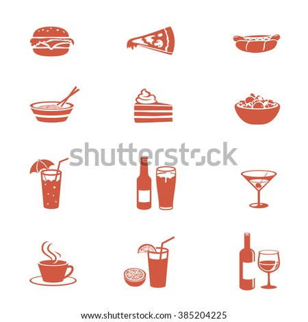 Food and drink icons set. Menu card illustrations. - stock vector