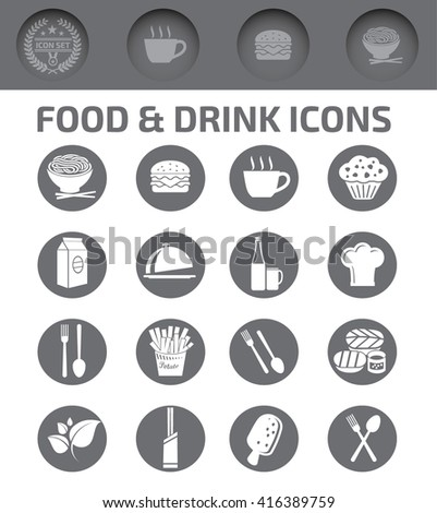 Food and drink icons,vector - stock vector