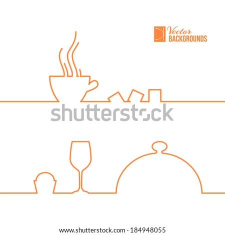 Food and drink line design. Vector illustration. - stock vector