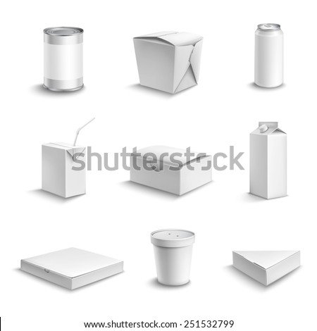 Food and drink plastic and cardboard package blank white objects set isolated vector illustration - stock vector