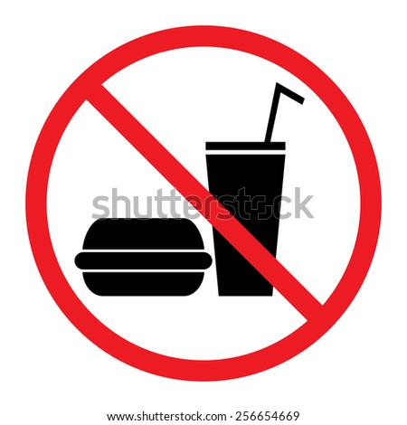 Food and Drink Prohibition Sign - stock vector
