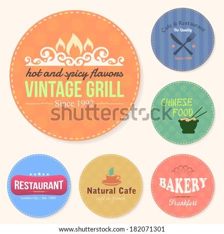 Food and Drink Restaurant Bar Tag, Sticker, Banners, Badges, Labels Vector Design Set - stock vector