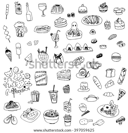 food and drink sketch drawing vector