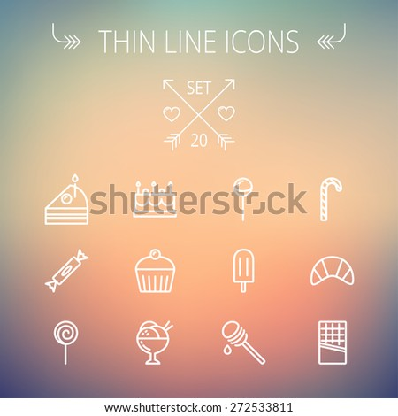 Food and drink thin line icon set for web and mobile. Set includes- cake, candy, lollipop, cupcake, ice cream, honey dipper, popsicle, waffle icons. Modern minimalistic flat design. Vector white icon - stock vector