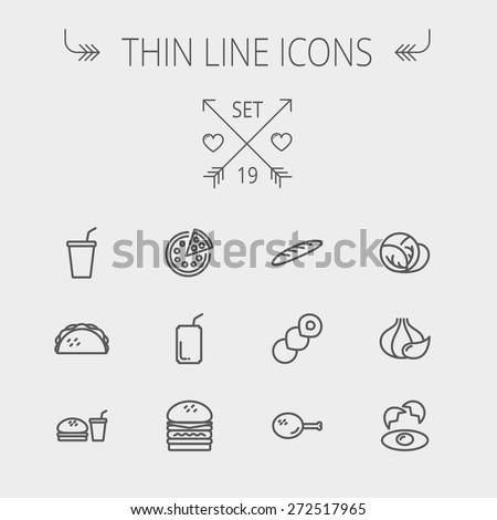 Food and drink thin line icon set for web and mobile. Set includes- onion, egg, chicken, meal set, soda, burger, taco icons. Modern minimalistic flat design. Vector dark grey icon on light grey - stock vector