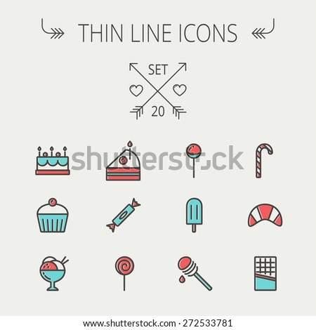 Food and drink thin line icon set for web and mobile. Set includess- cake, candy, lollipop, cupcake, ice cream, honey dipper, popsicle, waffle icons. Modern minimalistic flat design. Vector icon with - stock vector