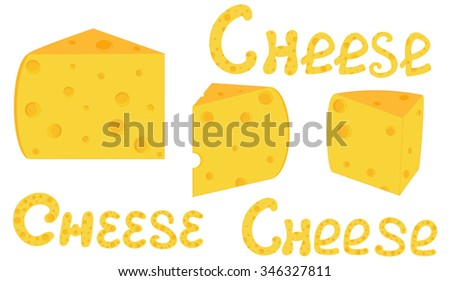 """Food and drink vector background with cheese slices and handwritten words """"Cheese"""". You can use any color of background - stock vector"""