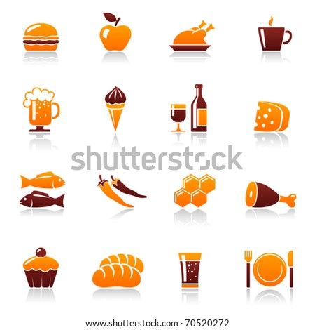 Food and drink vector icon set. Hamburger, apple, chicken, coffee cup, beer mug, ice cream, wine bottle, cheese, fish, pepper, honey, meat, cake, bread, soda, fork, plate, knife pictogram - stock vector