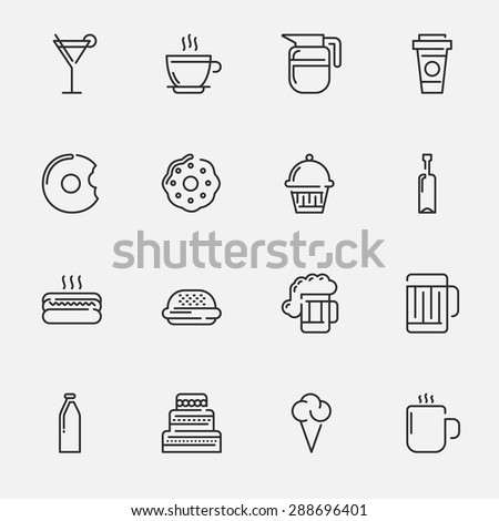 Food and Drink Vector Icon Set | Pixel Perfect Line Icon Set