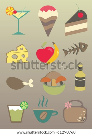Food and drink vector icons - stock vector