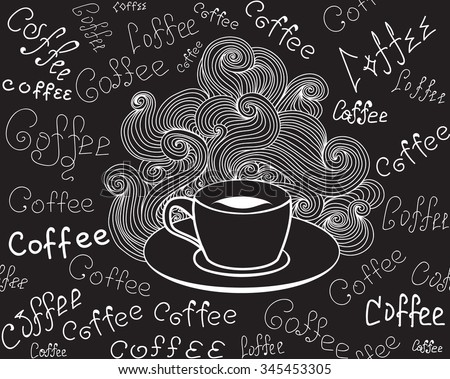 "Food and drink vector seamless pattern with coffee cup and words ""Coffee"" handwritten by chalk on grey board. Endless food vector texture - stock vector"