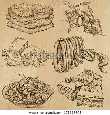 Food and Drinks around the World (set no. 8) - Collection of an hand drawn illustrations. Description: Each drawing comprise of two layer of outlines, colored background is isolated. - stock vector