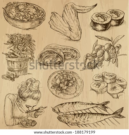 Food and Drinks around the World (set no. 10) - Collection of an hand drawn illustrations. Description: Each drawing comprise of two layer of outlines, colored background is isolated. - stock vector
