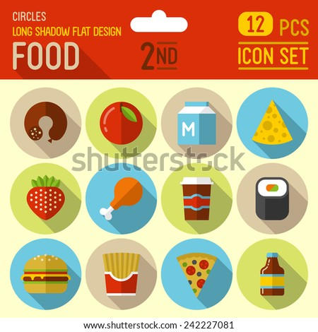Food and drinks flat long shadow design circle icon 1st set. 12 pcs. Trendy vector illustrations. - stock vector