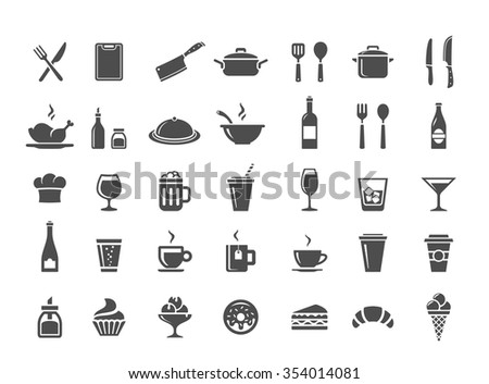 Food and drinks icon set. Restaurant, kitchen and cooking icons