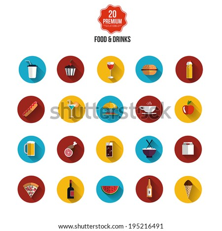 Food and drinks icons- Flat design. Vector - stock vector
