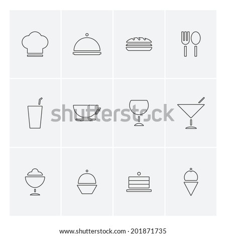 Food and drinks icons in flat design - stock vector