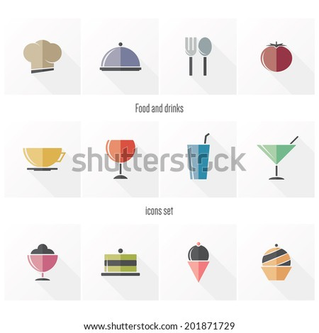 Food and drinks icons in flat design, with long shadows - stock vector