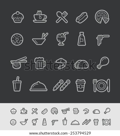Food and Drinks Icons - Set 2 of 2 // Black Line Series -- EPS 10+ Contain Transparencies - stock vector