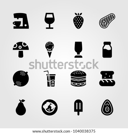 Food And Drinks icons set. Vector illustration coffee maker, glass, milk bottle and lemon