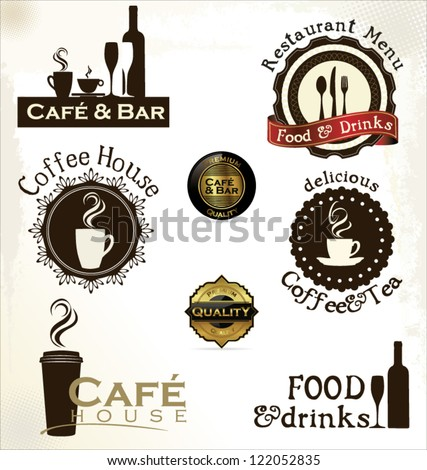 Food and drinks labels for restaurant and cafe - stock vector