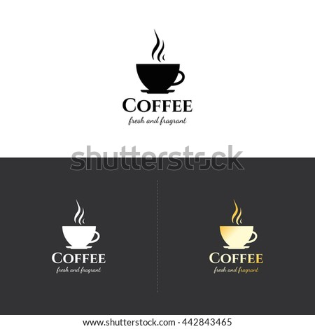 Food and drinks logotype symbol, for cafe, coffee house, restaurant, bar. With a hot coffee cup - stock vector