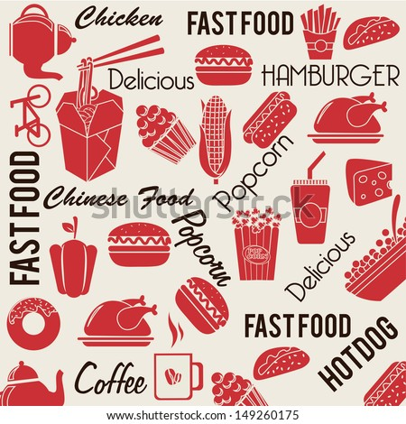 food and drinks pattern over white background vector illustration  - stock vector